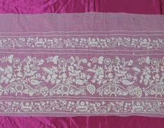 Antique (C. 1820) Tambour Embroidered On India Mull Panel