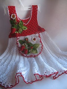 Summer Dress  in Red and White with Strawberry for Girl Cotton OOAK