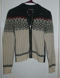 Geiger of Austria Green White Red Nordic Cardigan Sweater Pure Wool 42 12 #Geiger #Cardigan