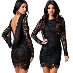 Зима формальные черный красный кружева крючком винтаж коктейль ну вечеринку платье спинки с длинным рукавом XL LC21138 femininas свадебные платья ренда