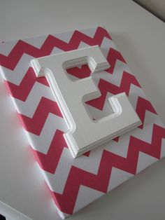 Wall Canvas Letters, Nursery Decor, Nursery Letters, Wooden Letters, Personalized, Nursery Art, pink and White Chevron. $11.99, via Etsy.