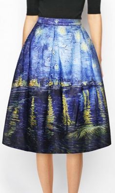 Chic Pleated Print High Waist A-Line Skirt. Love this cut (and design) would go good with a tucked in black, white, blue shirt and a slightly dressier shoe (simple flats, heels, ect)