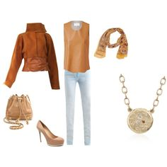 FW - DN - JEANS, SLEEVELESS LEATHER TOP, LEATHER JACKET, SCARF, PUMPS - DENIM, CARAMEL