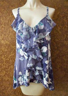 ANTHROPOLOGIE One September Blue Floral Ruffle Trim Asymmetric Tank Top Tunic XL