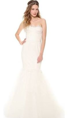 Marchesa Lace Corset Mermaid Gown with Lace Tulle Skirt - $5,950.00