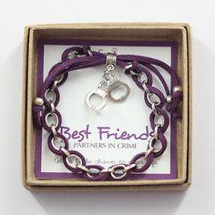 Handcuff Partners in Crime Best friend Charm Bracelet