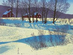 Jim's Farm by William Hays: Linocut Print available at www.artfulhome.com