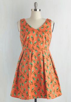 Amazing in Ananas Dress - Orange, Green, Novelty Print, Print, Pleats, Daytime Party, Fruits, Sleeveless, Woven, V Neck, Spring, As You Wish Sale, Mid-length, Sundress, Fit & Flare