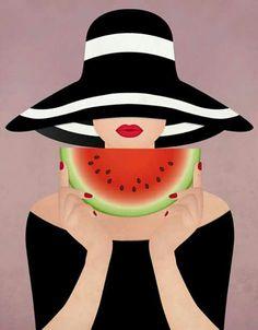 Oh, summer! by Sanja Veljanoska, via Behance watermelon girl summer girl illustration - DESSIN points ET lignes Pop Art, Art And Illustration, Girl Illustrations, Watermelon Girl, Arte Fashion, Summer Girls, Belle Photo, Graphic Art, Art Drawings