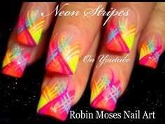 HOT Nails Playlist | Neon Nail Art hand painted Designs! - YouTube Tape Nail Art, Neon Nail Art, Nail Art Stripes, White Nail Art, Striped Nails, Nail Art Diy, Striped Nail Designs, Simple Nail Art Designs, Best Nail Art Designs