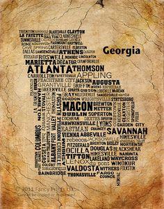 I also love that it doesnt have Kingsland or St Marys on it but DOES have Folkston! Georgia Homes, Georgia Usa, Georgia On My Mind, Savannah, Elberton Georgia, Dublin, Atlanta, Rome, Georgia Bulldogs Football