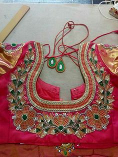Pattu Saree Blouse Designs, Fancy Blouse Designs, Bridal Blouse Designs, Blouse Neck Designs, Blouse Patterns, Embroidery Works, Hand Embroidery Designs, Indian Embroidery, Hand Work Design