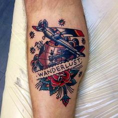 Wanderlust tattoo with globe and airplane. I hate the old school look so I would definitely have it redrawn.