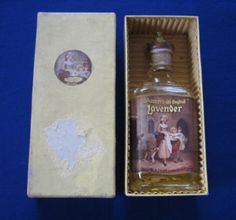 """Yardley's Old English Lavender"" vintage perfume bottle, unopened with contents, in original outer box (c.1950) (SOLD Oct. 2007) - www.vanishederas.com"