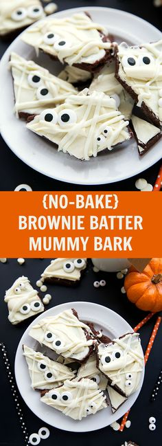 Great Halloween Treat - only 5 ingredients and NO baking required! Chocolate Brownie Batter Mummy Bark Great Halloween Treat - only 5 ingredients and NO baking required! Halloween Peeps, Halloween Bark, Fun Halloween Treats, Halloween Baking, Halloween Chocolate, Halloween Desserts, Halloween Brownies, Halloween Foods, Halloween Cupcakes