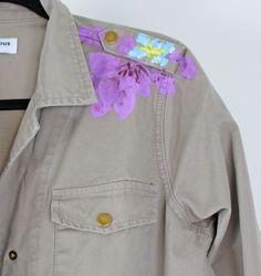 Glamorous Light Khaki Cotton Army Jacket With Painted Flowers Pink Cadillac, Shop Forever, Daily Fashion, Outfit Of The Day, Spring Summer, Ootd, Painted Flowers, Glamour, Style Inspiration