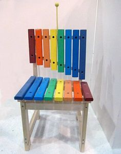 Xylophone Chair This piece by Design Pot brings new meaning to that classic party game Musical Chairs, doing double duty as both an instrument and a colorful seat. Funky Furniture, Kids Furniture, Painted Furniture, Furniture Design, Music Classroom, Home And Deco, Musical Instruments, Rainbow Colors, Repurposed