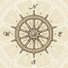 Ship's Wheel Compass Rose by 123RF