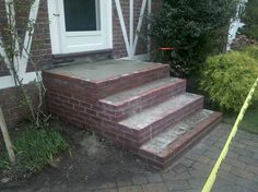 bluestone steps with brick | brick steps in progress – they're a bit messy but see the final ...