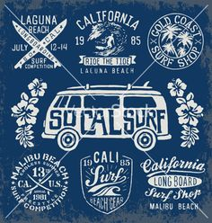 Set of vintage surfing graphics and emblems vector by krookedeye on VectorStock®