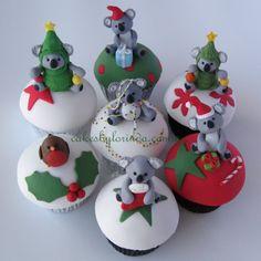 {Darling little koala bears dressed in Christmas outfits Cakes by Lorinda} Aussie Christmas, Australian Christmas, Summer Christmas, Christmas Items, Christmas Goodies, Christmas Baking, All Things Christmas, Xmas, Christmas Outfits