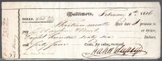 Original 1816 Promissory Note To Mayhew & Burt from (Mabel Hufrey) Baltimore MD