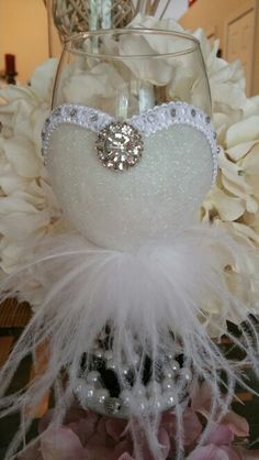 Wedding wine glass. White fine glitter,soft fine feather and Diamond for the bride. (For sale)