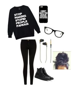 """Black Is Always Okay"" by x-itsalexo-x ❤ liked on Polyvore featuring Current/Elliott, Converse, Kreafunk, Muse, music, emo, Punk, grunge and goth"