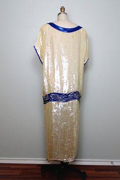 20's Art Deco Sequined Pearl Beaded Flapper Dress // от braxae
