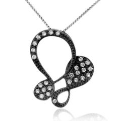 """Black Rhodium over Sterling Silver Micro-pave Clear Cubic Zirconia Cut-out Butterfly Pendant Necklace - 18"""" Sterling Silverado. $34.99. Micro-pave. Black Rhodium. Clear Cubic Zirconia / Micro-pave. Sterling Silver. Model # 206429-A"""
