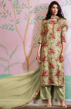 36af7c73eb Dust Green Digital Floral Print Cotton Silk Salwar Suit - FLO4838