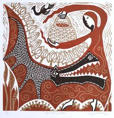 Little Red Riding Hood - Le petit Chaperon Rouge - ELizabeth Rashley Red Riding Hood Wolf, Red Ridding Hood, Charles Perrault, Fairytale Art, Buy Art Online, Red Hood, Linocut Prints, Little Red, Prints For Sale