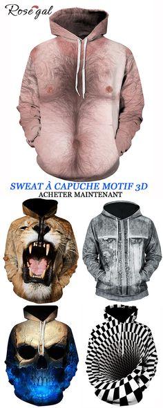 Sweat à capuche pour homme avec motif 3D  Rosegal  sweateràcapuche   tendance  masculine  saintvalentin 3273b4091d9