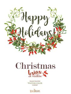 Christmas Watercolor Clipart Mistletoe Briar by ReachDreams