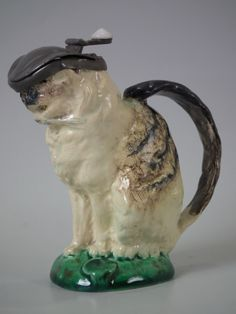 Small Mintons Majolica cat pitcher with pewter lid. Victorian, circa 1875.