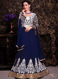 Fatching Royal Blue Georgette Embroidery Work Anarkali Suit http://www.angelnx.com/Salwar-Kameez/Anarkali-Suits