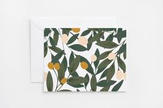 With deep green leaves and pink and mustard buds inspired by the foliage of fruit orchards in my husband's hometown, these illustrated notecards are perfect for every day notes or special occasions. E