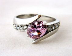 Purple Lavender Rhinestone Cocktail Statement Ring Oval Cut Pave Silver Tone 7.5 #Unbranded #Statement