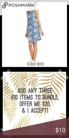 Denim Sleeveless Dress in Floral Sale! Price is firm unless 3 for $20 bundled. Made of soft and breathable 100% cotton, this dress has a classic denim construction, and includes a removable self-tie belt for a flattering silhouette. The V neckline and sleeveless style offers a comfortable and relaxed fit. Pair with flats for a casual look or wear in cooler weather with tall boots and cardigan. Fold-over collar, A-line hem. Pull on style. Also available in Dark and Plaid Denim. Faded Glory…