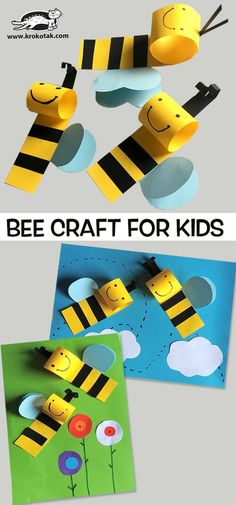 20 amazing DIY crafts for kids - DIY Stuffs Love to do crafting with little kids? We have 20 amazing DIY crafts for kids that will keep them busy this weekend. BEE CRAFT Super easy and cute craft for little kids in no time. Bee Crafts For Kids, Summer Crafts, Cute Crafts, Toddler Crafts, Diy For Kids, Diy And Crafts, Arts And Crafts, Craft Kids, Bees For Kids