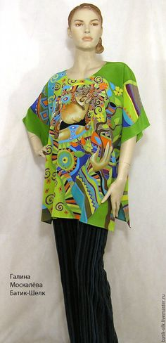 """Купить Блузка Батик""""Девушка и сакура""""шелковая блузка ручная роспись Батик - ярко-зелёный, рисунок, блузка"""