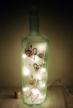 RETRO HEARTS Recycled Glass Bottle Accent by CanDezign on Etsy, $19.00