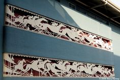 One of the most recognizable architectural details of beautiful Santa Anita Park is the famous frieze of white running horses that adorns t. Santa Anita Park, The Iceman, Streamline Moderne, Running Horses, Thoroughbred Horse, Racehorse, City Of Angels, Horse Racing, Kentucky Derby