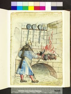 From: Die Hausbucher der Nurnberger Zwolfbruderstiftungen  The cook is facing the brick hearth, on a charcoal fire blazes and three jars are. In his right hand he holds a long wooden spoon. Rear hanging on the wall four Frying Pans. 1527