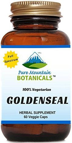 Organic Goldenseal Root Capsules. 60 Kosher Veggie Capsules With 250mg Organic Goldenseal Herb Powder About Pure Mountain Botanicals®  We believe there's a better way to help you be your best. A better way that works naturally with your body. Since the beginning, we have been committed to ... more details at http://supplements.occupationalhealthandsafetyprofessionals.com/herbal-supplements/goldenseal/product-review-for-organic-goldenseal-root-capsules-60-kosher-veggie-c