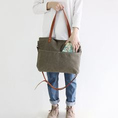 Handmade Canvas Tote Messenger Bag Shopper Bag School Bag Handbag 14022 - LISABAG - 3