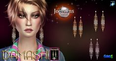 DAMaSHI earrings copper, gold or silver at Jomsims Creations via Sims 4 Updates