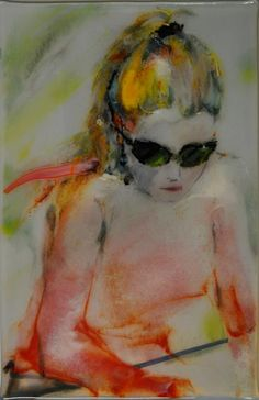 """Fused Glass Drawing- it's amazing how much detail and texture that artist Linda Humphrey is able to achieve in a fused glass drawing!  """"Alicia Drawing""""  9""""x14"""". April, 2012.  Multi process, multi layer, fused glass drawing. — with Alicia Reed. ©Linda Humphrey / KilnForms."""