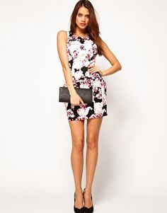 Enlarge Lipsy Floral Print Dress with Lantern Skirt