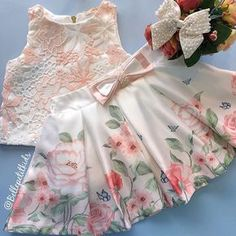 {Customary and tailored made baby dress, creates the best answer. Little Girl Dresses, Girls Dresses, Flower Girl Dresses, Frock Design, Ladies Dress Design, Baby Girl Fashion, Kids Fashion, Baby Dress Patterns, Kids Frocks Design